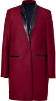 Sandro Red Wine Wool-Blend Coat with Leather Trim