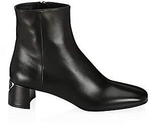 Prada Women's Triangle Logo Heel Leather Ankle Boots