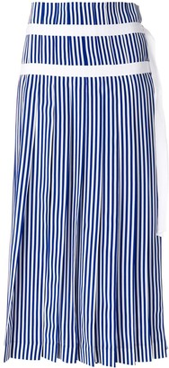 Joseph Striped Pleated Skirt With Double Belt Detail