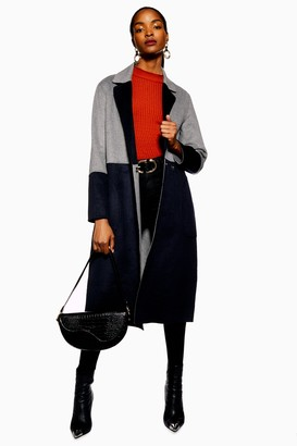 Topshop Womens Reversible Colour Block Coat - Multi