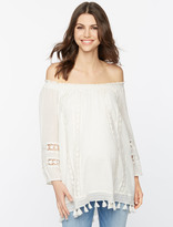 A Pea in the Pod Lace And Tassel Trim Maternity Top