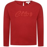 Chloé ChloeGirls Red Fringed Logo Top