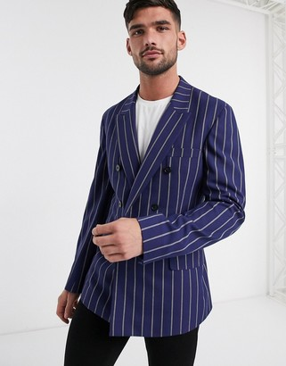 ASOS DESIGN slim casual double breasted blazer in navy stripe