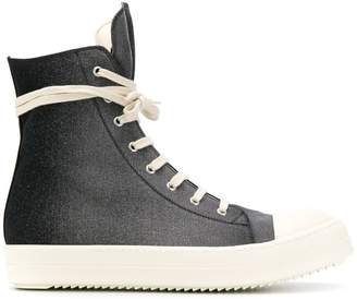 Rick Owens wrap-around lace side zip sneakers