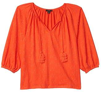 J.Crew Embroidered Tassel-Tie Top (Brilliant Sunset) Women's Clothing