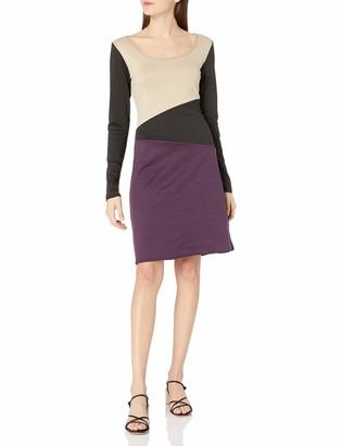 Star Vixen Women's Plus-Size Long Sleeve Tri Colorblock Stretch Short Dress