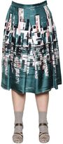 Marina Rinaldi Pleated City Printed Silk Twill Skirt
