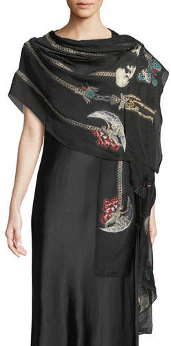 Alexander McQueen St. Renaissance Charm Silk Scarf