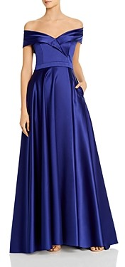 Avery G Satin Off-the-Shoulder Gown - 100% Exclusive