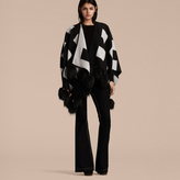 Burberry Check Jacquard Cashmere Poncho with Raccoon Pom-poms