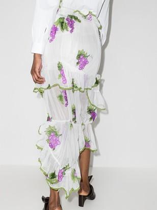 yuhan wang Grape Embroidered Skirt