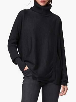 AllSaints Koko Merino Wool Wrap Jumper, Cinder Black Marl