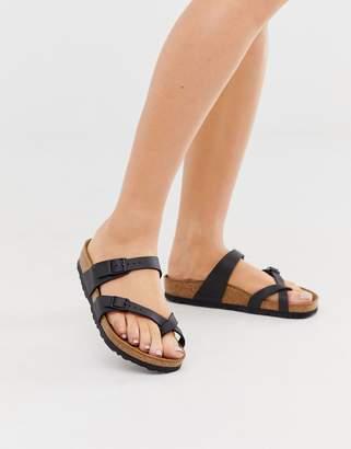 Birkenstock Mayari cross strap flat sandals in black