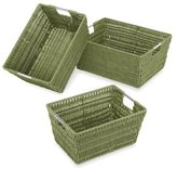 Whitmor Rattique Storage Baskets, Set of 3, Sage Green