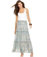 Skirt, Printed Sheer Maxi