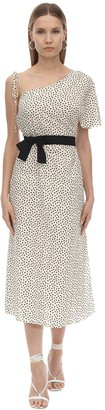 Mirae Mia Printed Viscose & Linen Midi Dress