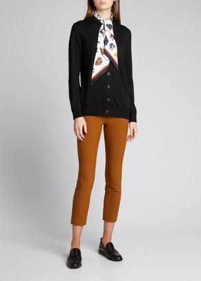 Burberry Wool Cardigan Sweater w/ Monkey-Print Scarf