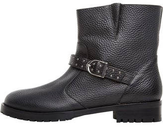 Karen Millen Womens Biker Pull On Leather Ankle Boots Black/Black