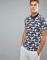 Ted Baker Polo Shirt In Palm Print