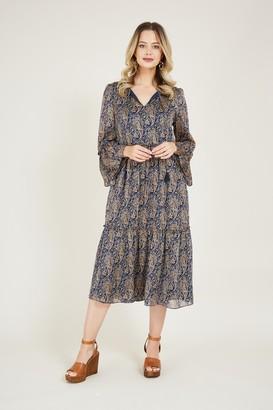 Yumi Navy Paisley Smock Dress