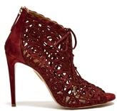 Aquazzura Kya macramé-lace and suede sandals