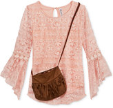 Beautees Lace Top & Purse, Big Girls (7-16)