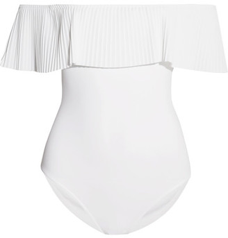 Josephine Off-the-shoulder Pleated Swimsuit - White