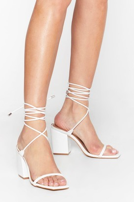 Nasty Gal Womens Tie and Stand Your Ground Croc Heeled Sandals - White - 3