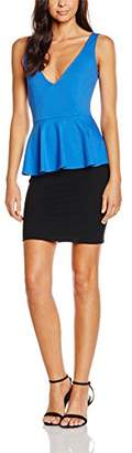 Wolfwhistle Wolf and Whistle Women's Jersey Colour Block Peplum Dress