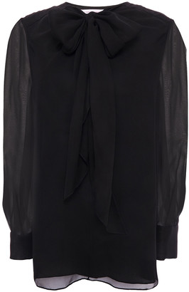 Carolina Herrera Pussy-bow Gathered Silk-chiffon Blouse