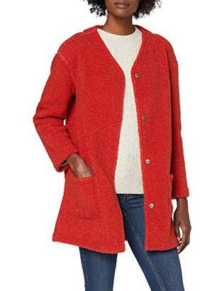 Tom Tailor Casual Women's Teddy Coatigan Suit Jacket, (Dry red 19194), (Size of : Large)