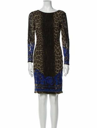 Versace Animal Print Knee-Length Dress Green