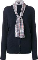Joseph knitted cardigan with plaid print neck tie detail