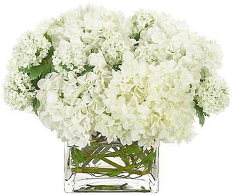 Hydrangea in Cube Vase - Faux - NDI - arrangement, white; vessel, clear