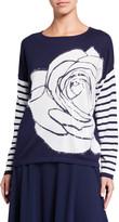 Joan Vass Rose Intarsia Striped-Sleeve Sweater