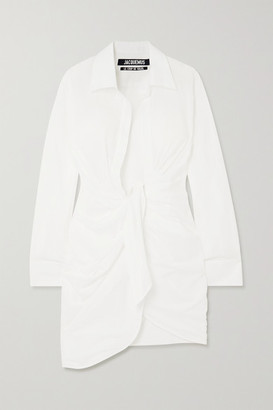 Jacquemus Bahia Gathered Cotton Mini Dress - White