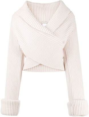 Nina Ricci Ribbed Knit Wrap Jumper