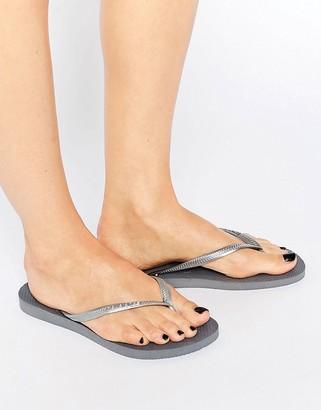 Havaianas Silver Slim Flip Flops