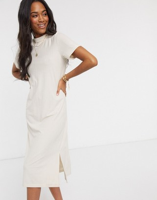 Vero Moda high neck midi dress in cream