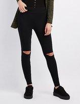 Charlotte Russe Slit Knee High-Rise Leggings