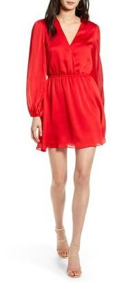 Chelsea28 Long Sleeve Faux Wrap Dress