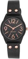 Nine West Women's Black Imitation Leather Strap Watch 36mm NW-1932BKRG