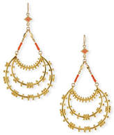 Devon Leigh Tiered Hoop Drop Earrings with Coral Beads