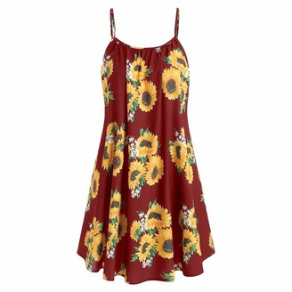 VECDY Women Boho Dress Chic Sunflower Print A-Line Slash Neck Strap Sleeveless Mini Dress Loose Lightweight Cute Beach Sundress(12-14
