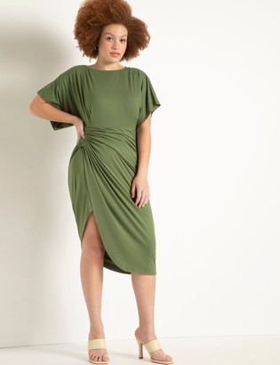 ELOQUII Dolman Sleeve Gathered Skirt Dress