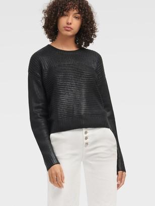 DKNY Women's Foil Printed Sweater - Black - Size XL