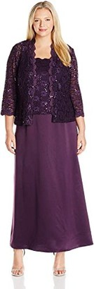 Alex Evenings Women's Plus-Size Long A-line Mock Dress with Open Jacket
