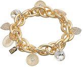 JLO by Jennifer Lopez Disc & Heart Charm Chain Link Stretch Bracelet