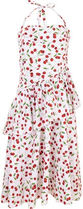 Michael Kors Cherry Print Ruched Peplum Halter Dress