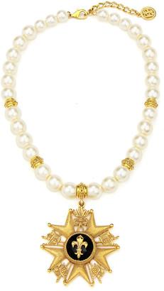 Ben-Amun Fleur-De-Lis Medal w/ Pearly Necklace